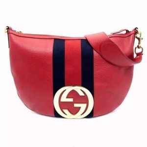 RARE GREAT GUCCI RED AND NAVY CROSSBODY